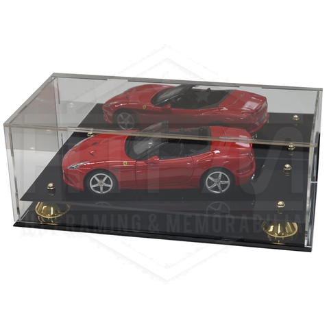 Deluxe Acrylic model car 1:18 display case with gold risers Mirror back finish - 3924