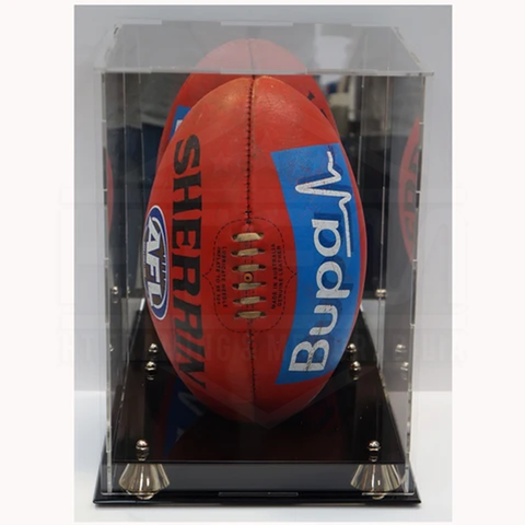 Deluxe Acrylic Afl Vertical Football Display Case With Gold Risers and Mirror Back Finish - 4529