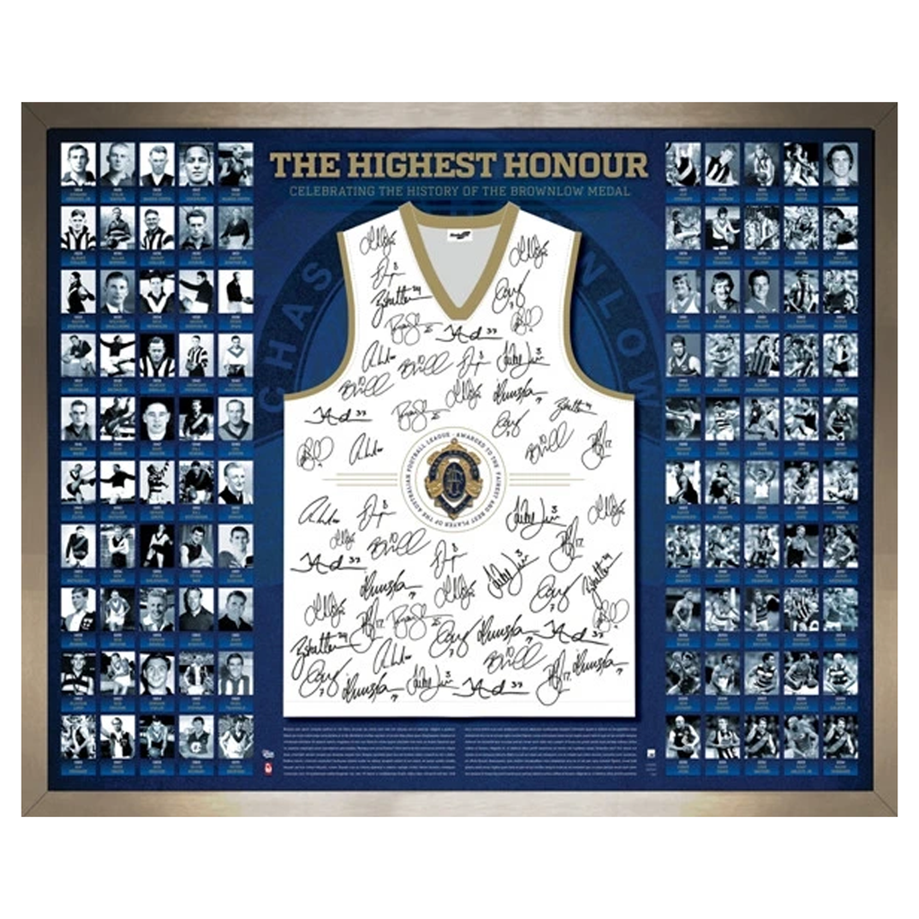 90 Years of the Brownlow Medal The Highest Honour Signed Guernsey Framed AFL - 1073