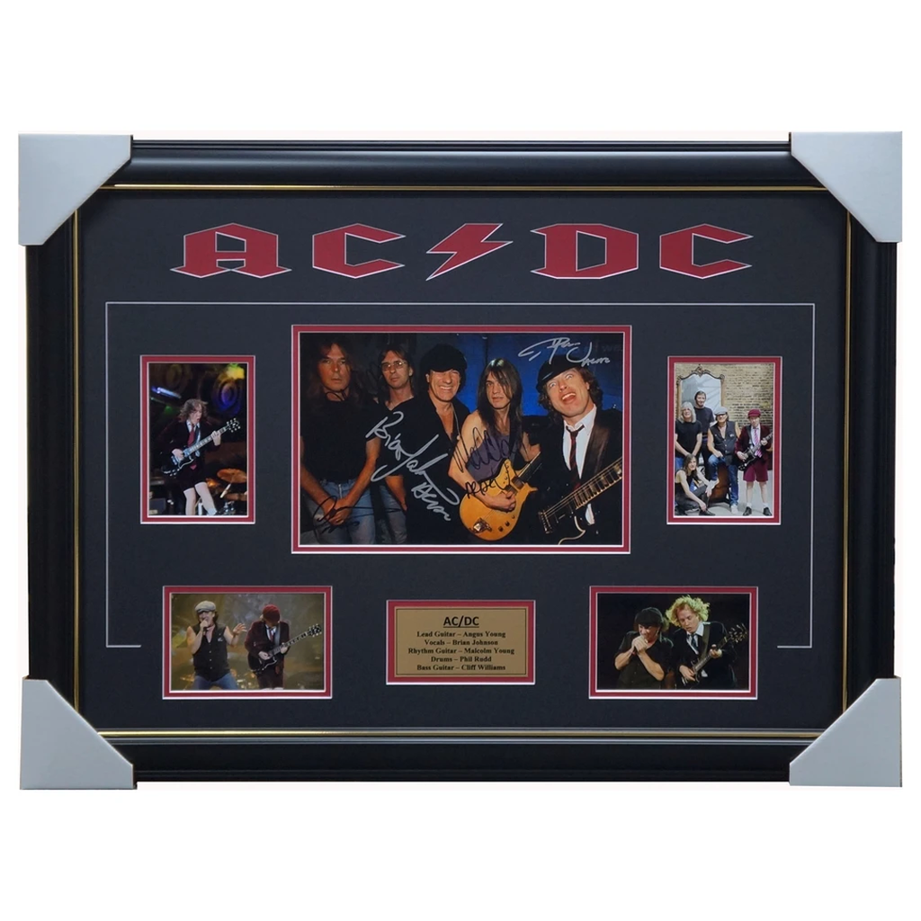 AC/DC Signed Photo Collage Framed Angus Young Brian Johnson - 1903