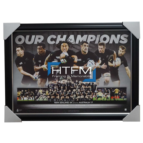 All Blacks 2015 World Cup Rugby Champions Official Sportsprint Framed Carter - 2595
