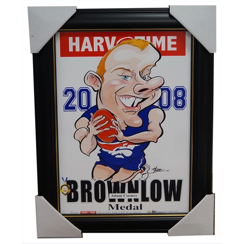 Adam Cooney 2008 Brownlow Medal Bulldogs Harv Time Limited Edition Print Framed - 1874