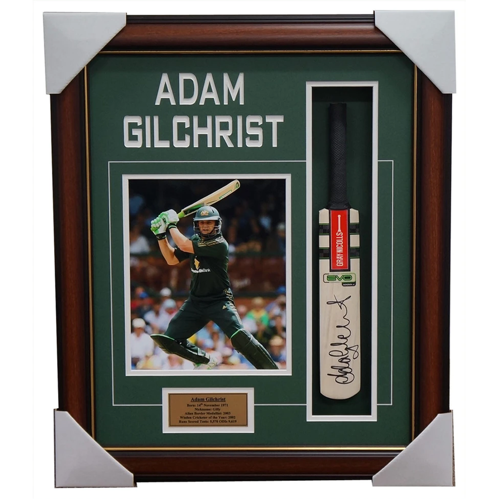 Adam Gilchrist Australia Signed Mini Bat with Photo Framed - 3921