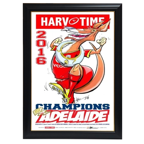 Adelaide United, 2016 a-league Champions Harv Time Print Framed - 4120