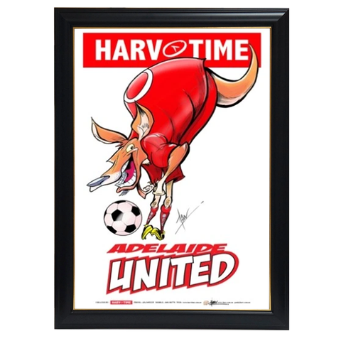 Adelaide United, a-league Mascot Harv Time Print Framed - 4188