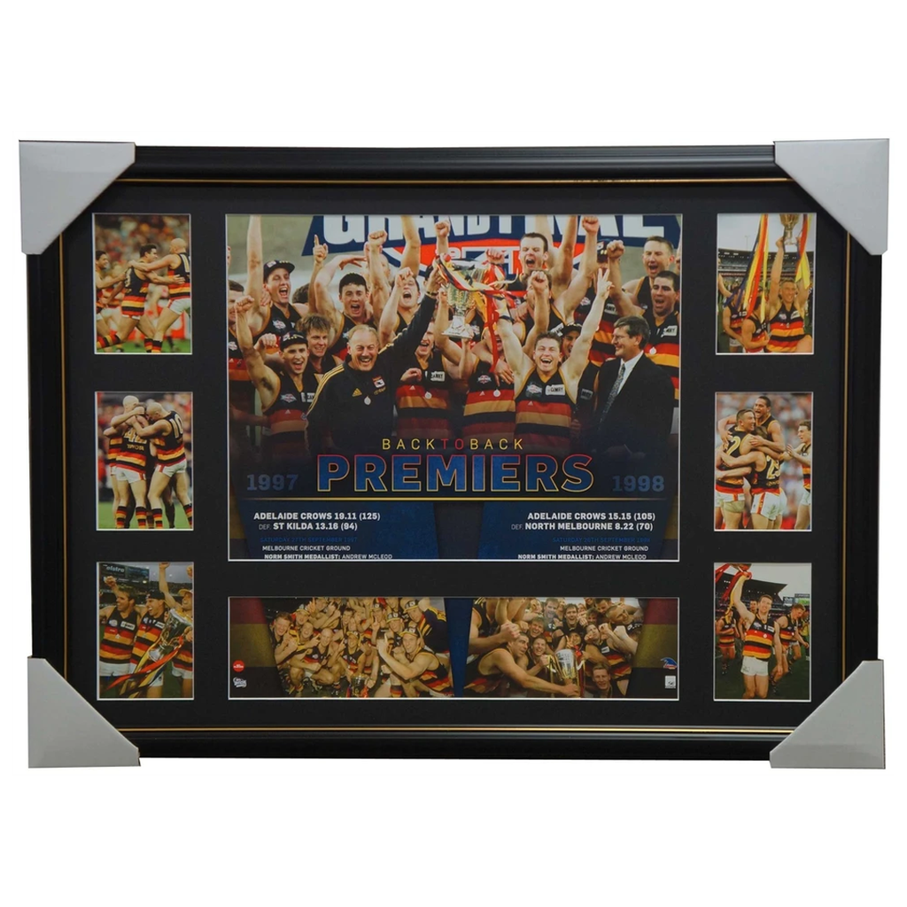 Adelaide Crows 1997 & 1998 Back to Back Premiers Afl Premiergraph Framed Mcleod - 2848