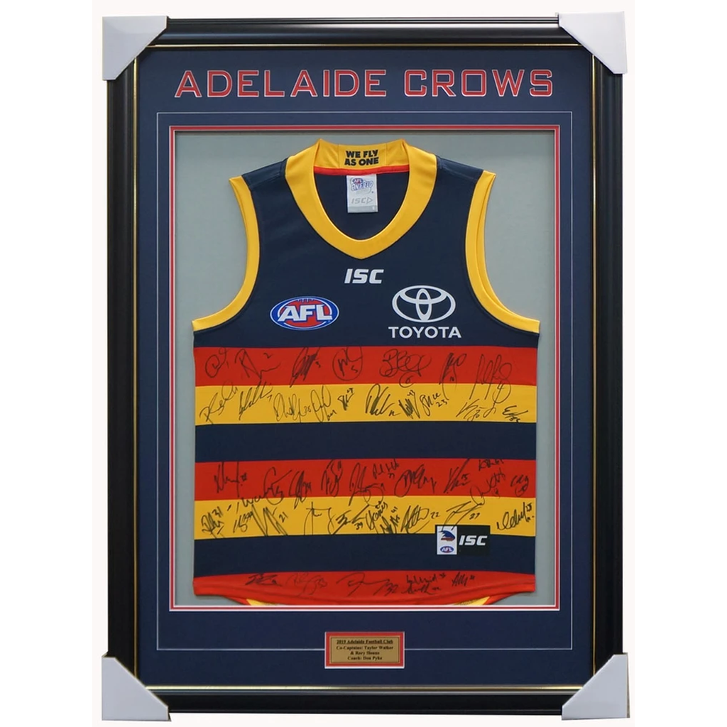 Adelaide Crows 2019 Signed Official AFL Team Jumper Framed Betts Sloane + COA - 3643