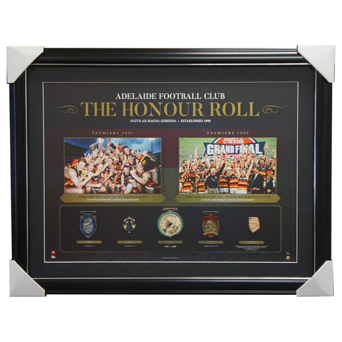 Adelaide Crows Afl Honour Roll With Medallions Print Framed 1997 1998 Premiers - 3007