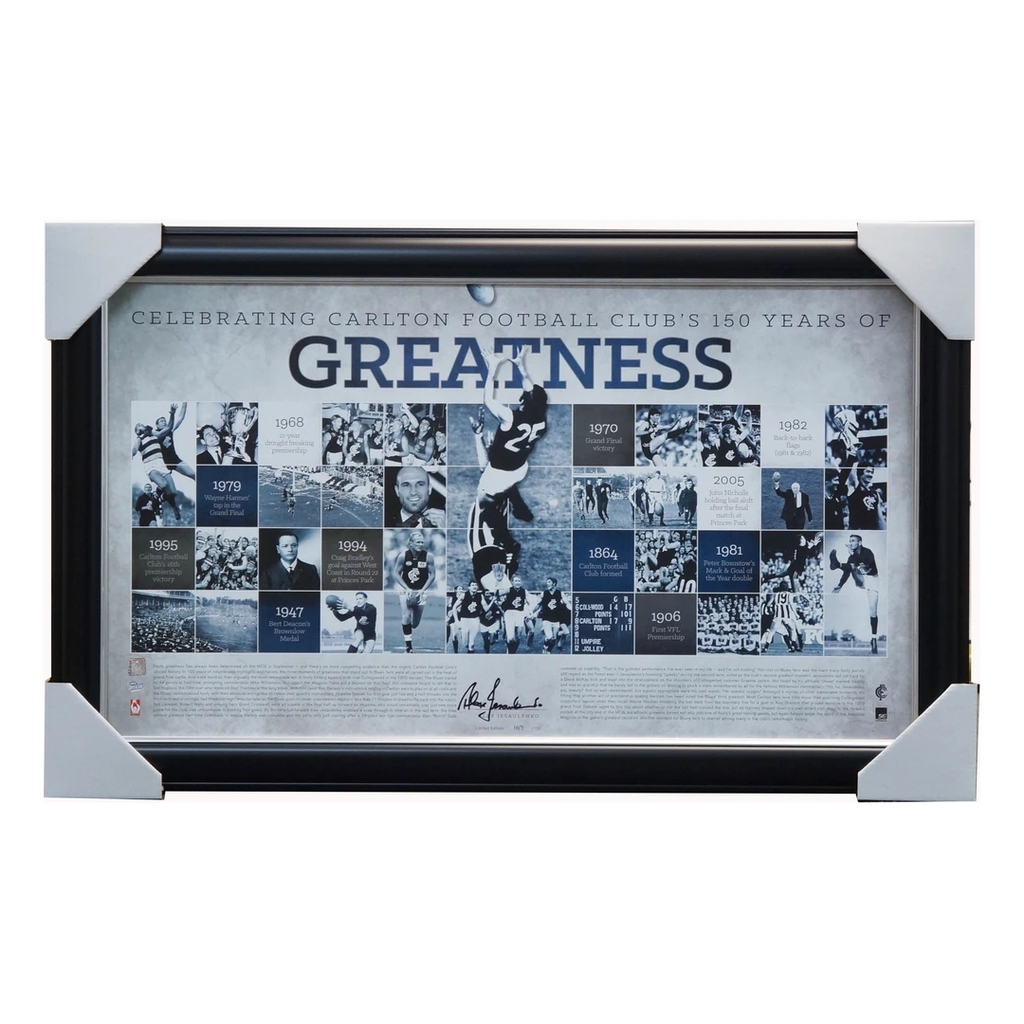 Alex Jesaulenko Carlton Greatness Signed Official Afl Print Framed - 3592