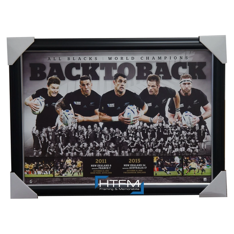 All Blacks Back to Back 2011 & 2015 World Cup Champions L/e Print Framed Carter - 2597