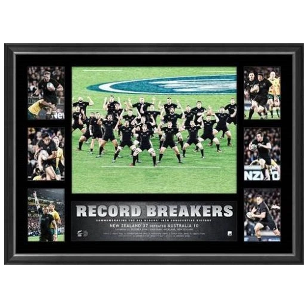 All Blacks Rugby Union 2016 Record Breakers 18 Wins World Record Tribute Frame - 3000