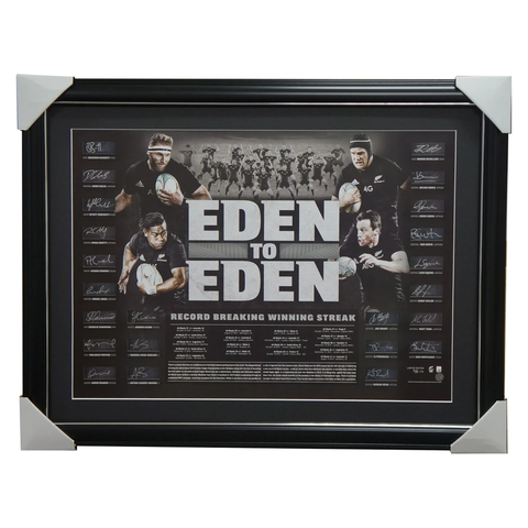 All Blacks Signed Rugby Union Eden to Eden 2016 World Record Team Lithograph Framed - 2977