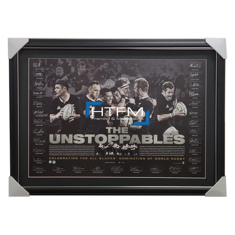All Blacks 'the Unstoppables' Lithograph Hand Signed by Team - 2802
