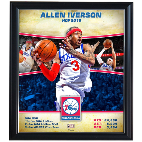 Allen Iverson Philadelphia 76ers Player Collage Official NBA Print Framed - 4354