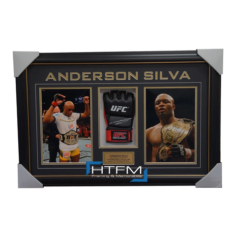 Anderson Silva Signed UFC Glove With Photos Box Framed JSA - 100% AUTHENTIC - 1920