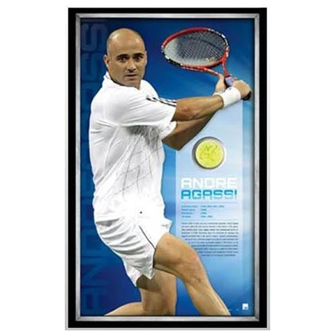 Andre Agassi Signed Ball and Print L/E to 100 ONLY Framed - 1151