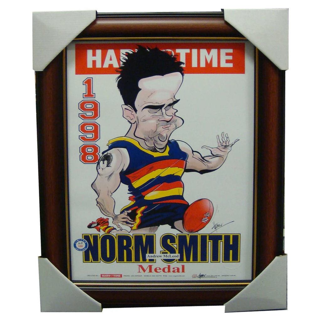 Andrew Mcleod Adelaide Crows 1998 Norm Smith Medallist L/e Print Framed - 1524