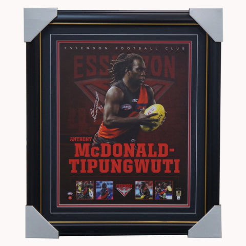 Anthony McDonald Tipungwuti Signed Essendon Official Deluxe AFL L/E Print Framed - 4475