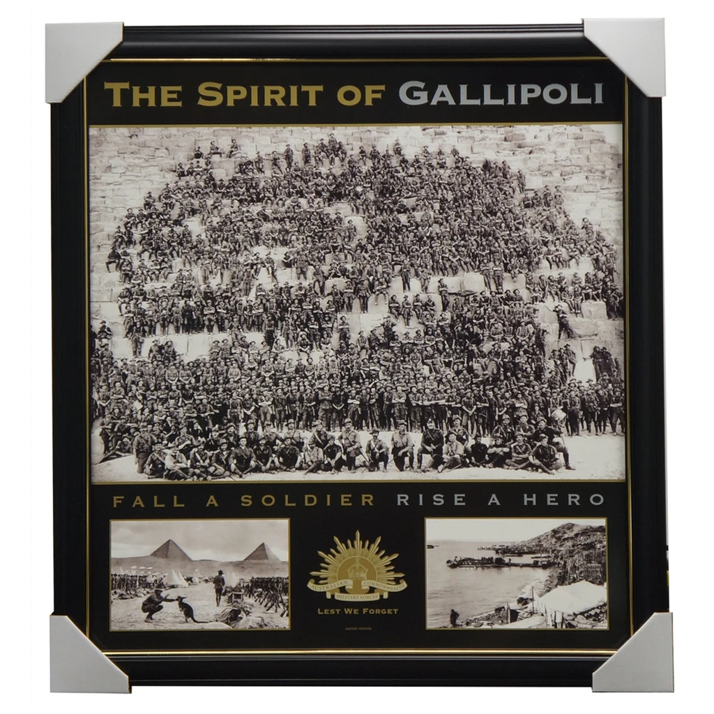 Anzac The Spirit of Gallipoli L/E War Print Framed with Pyramids Anzac Cove WW1 - 3119