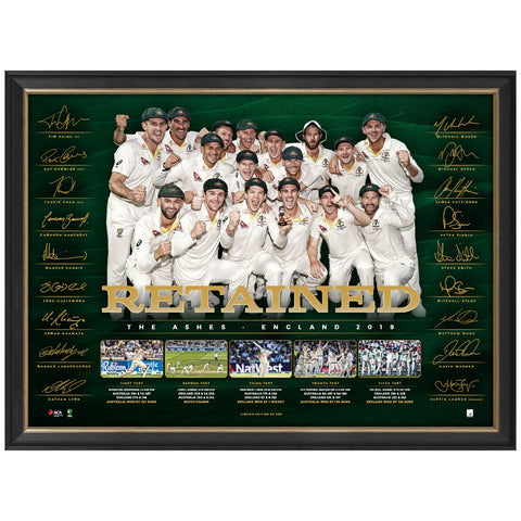 Australia Cricket Ashes Retained 2019 Official ACB Signed Sportsprint Framed - 3776