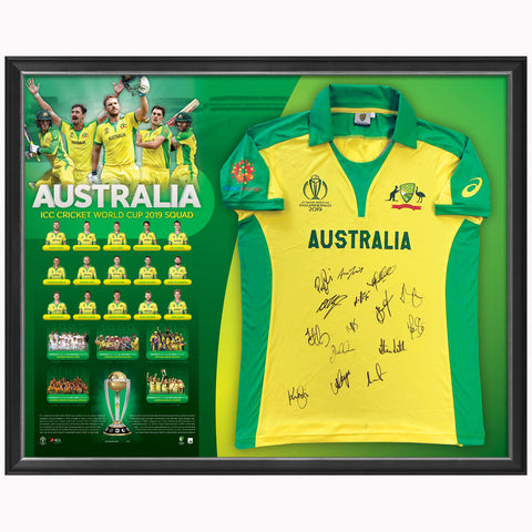 Australia 2019 Cricket One Day World Cup Team Official ACB Signed Jersey Framed - 3942 ON SALE