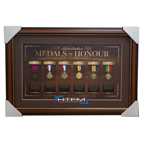 Australia Anzac Replica Medals of Honour L/E Print Framed First World War WW1 - 1060