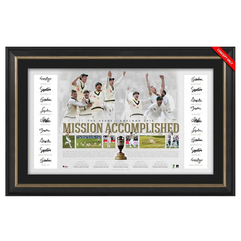 Australia Cricket Ashes Team Signed Mission Accomplished 2019 Official ACB Lithograph Framed - 3777