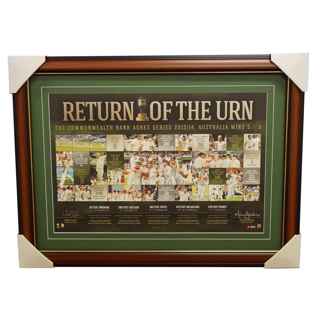 Australia Return of Ashes 2014 Signed L/E ACB Print Clarke & Johnson Frame - 1944