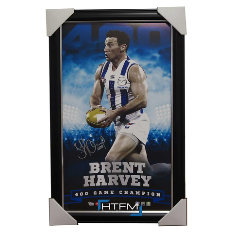 BRENT HARVEY SIGNED THE 400 CLUB KANGAROOS VERTIRAMIC FRAMED OFFICIAL AFL - 2516
