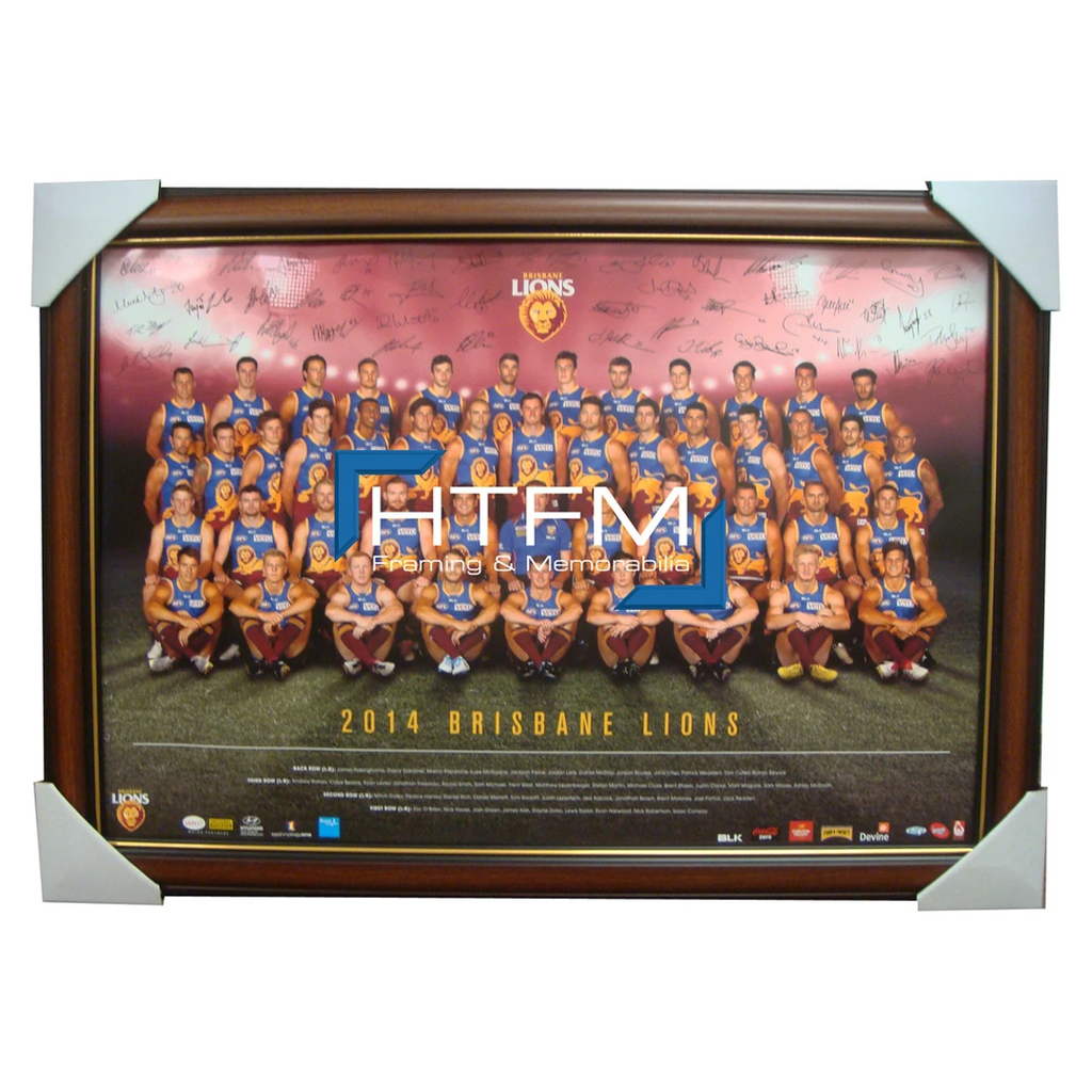 Brisbane Lions 2014 Team Poster Framed  Facsimile Signed Afl Official Licensed - 1740