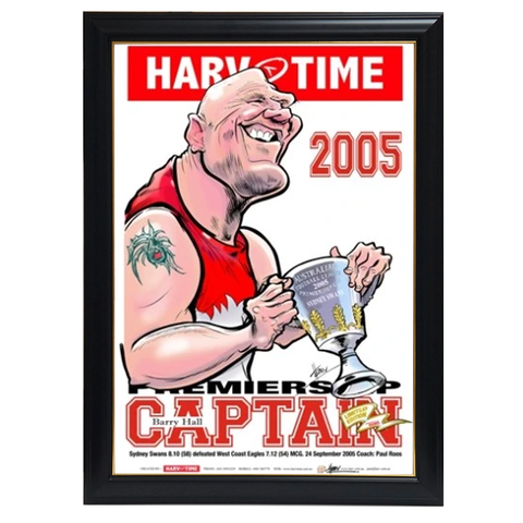 Barry Hall, 2005 Premiership Captain, Harv Time Print Framed - 4234