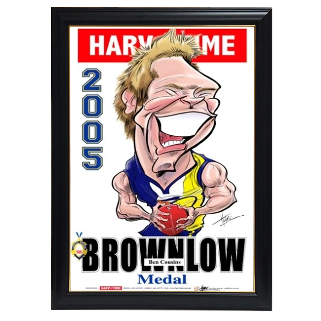 Ben Cousins, 2005 Brownlow, Harv Time Print Framed - 4229