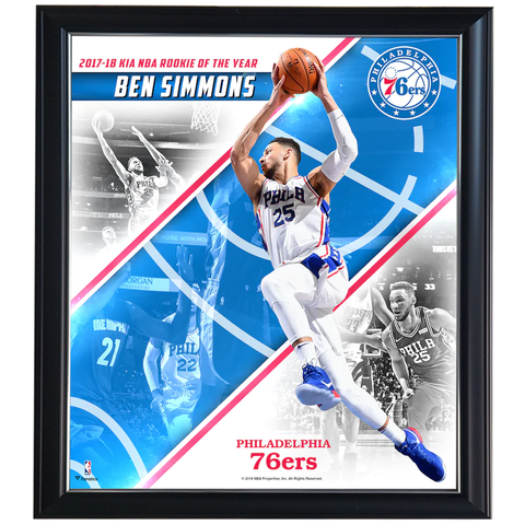 Ben Simmons Philadelphia 76ers 2018 NBA Rookie of the Year Collage Official NBA Print Framed - 4428