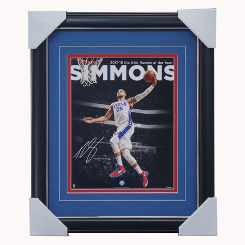 Ben Simmons Philadelphia 76ers 2018 NBA Rookie of the Year Spotlight Photograph Facsimile Signatures Official NBA Print Framed - 4349
