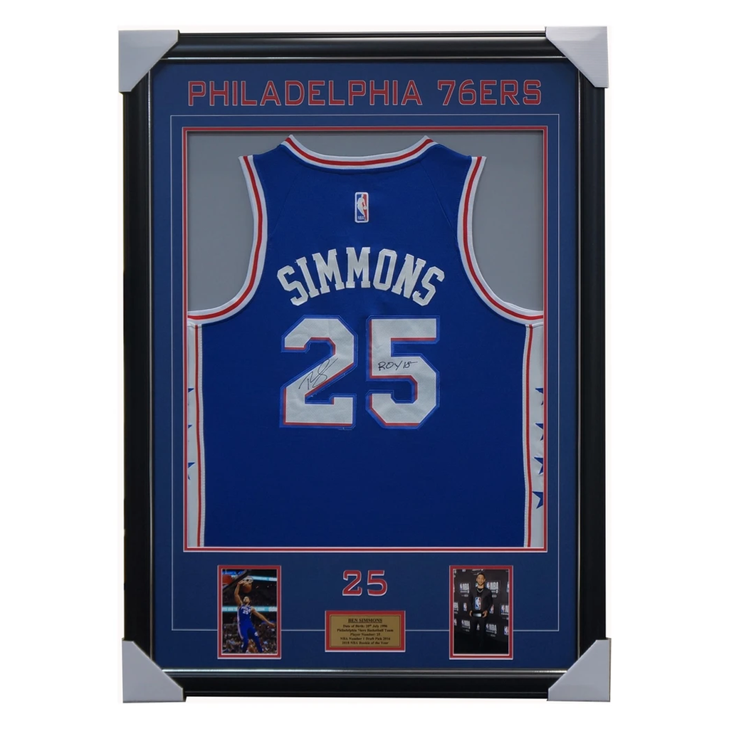 Ben Simmons Signed Philadelphia 76ers Jersey Framed Nba 2018 Rookie of the Year - 3413