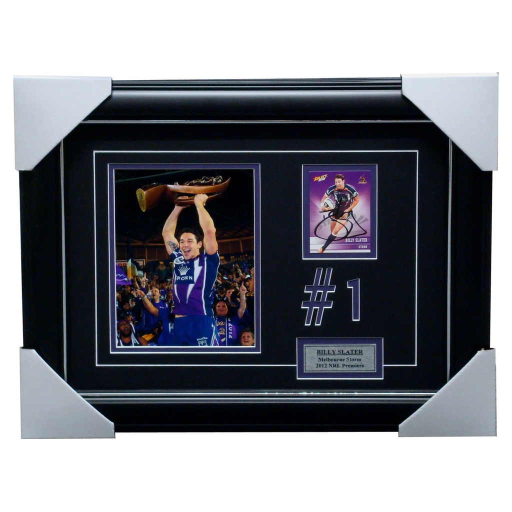 Billy Slater 2012 Premiers Melbourne Storm Photo with Signed Card Framed - 1231