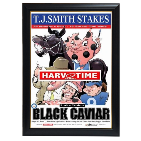 Black Caviar, TJ Smith Stakes, Harv Time Print Framed - 4258
