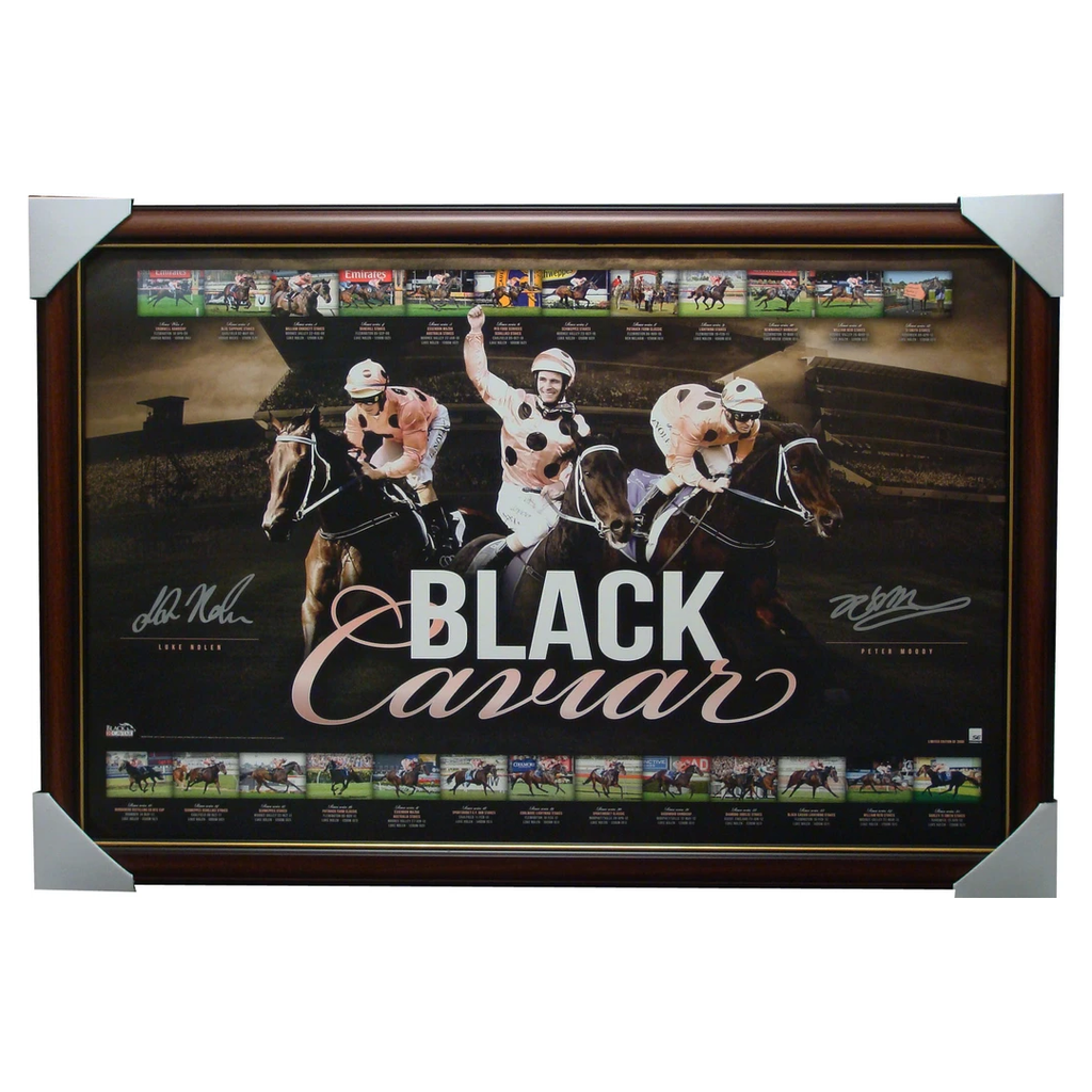 Black Caviar 25 Out of 25 Wins Limited Edition Facsimile Signed Print Framed - 1300