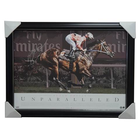 Black Caviar Hand Signed Unparalleled Horse Racing Litho Framed Peter Moody - 2979