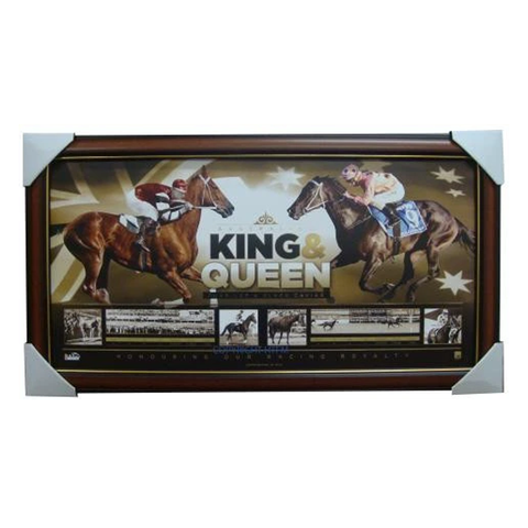 Black Caviar & Phar Lap King & Queen of the Turf Official Licensed Print Framed - 1684