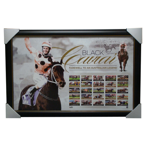 Black Caviar Retirement Print Featuring Each Individual Race Framed - 1296