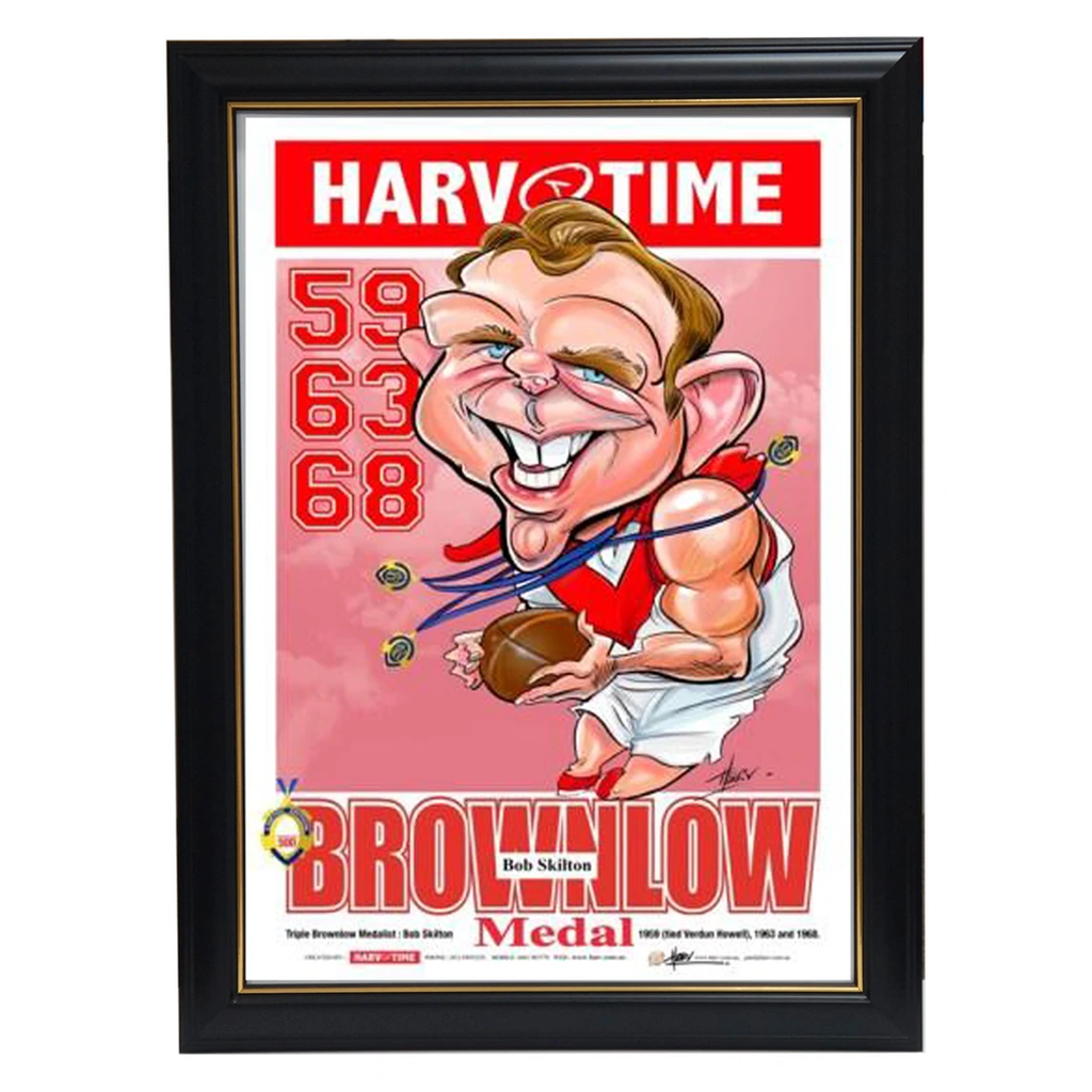 Bob Skilton Triple Brownlow Medallist South Melbourne Harv Time L/E Print Framed - 3614