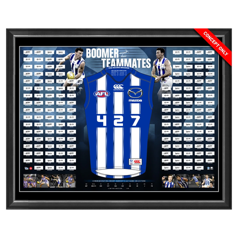 "Brent Harvey Signed 427 Record Breaking Jumper framed ""Boomer & His Teammates"" inc 150+ Signatures - 2925"