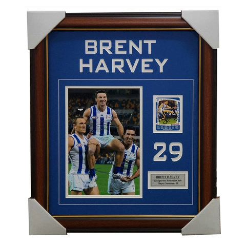 Brent Harvey Signed Card Collage Framed with Photo and Plaque 400 Games - 2683