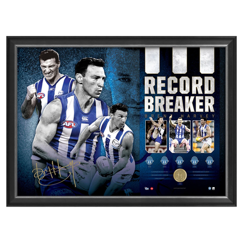 Brent Harvey Signed Kangaroos Record Breaker 427 Official AFL Games Sportsprint Framed - 2923