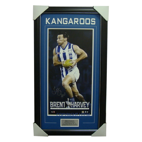 Brent Harvey Signed Kangaroos Vertiramic Signed AFL Print Framed - 1362