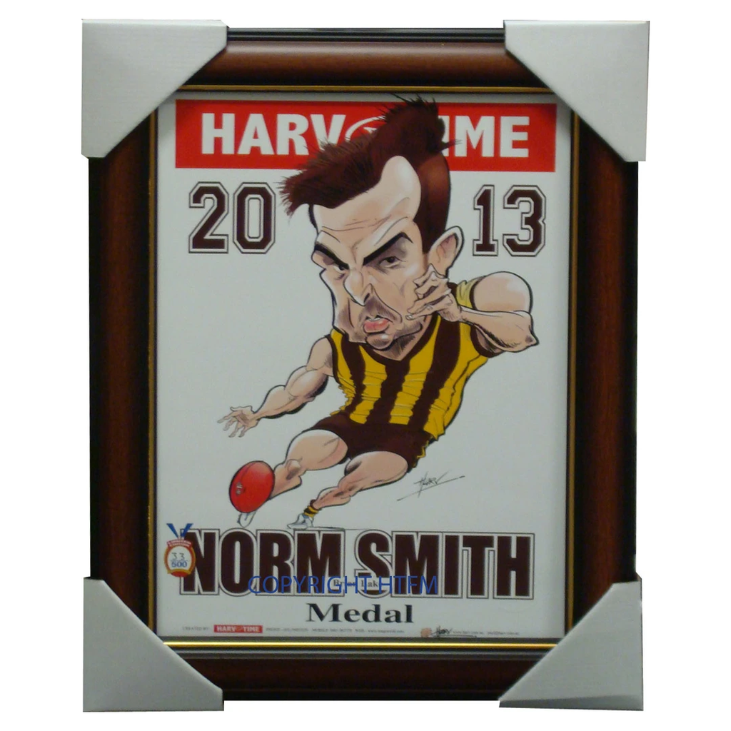 Brian Lake 2013 Norm Smith Medallist Harv Time L/e Print Framed 2013 Premiers - 1551