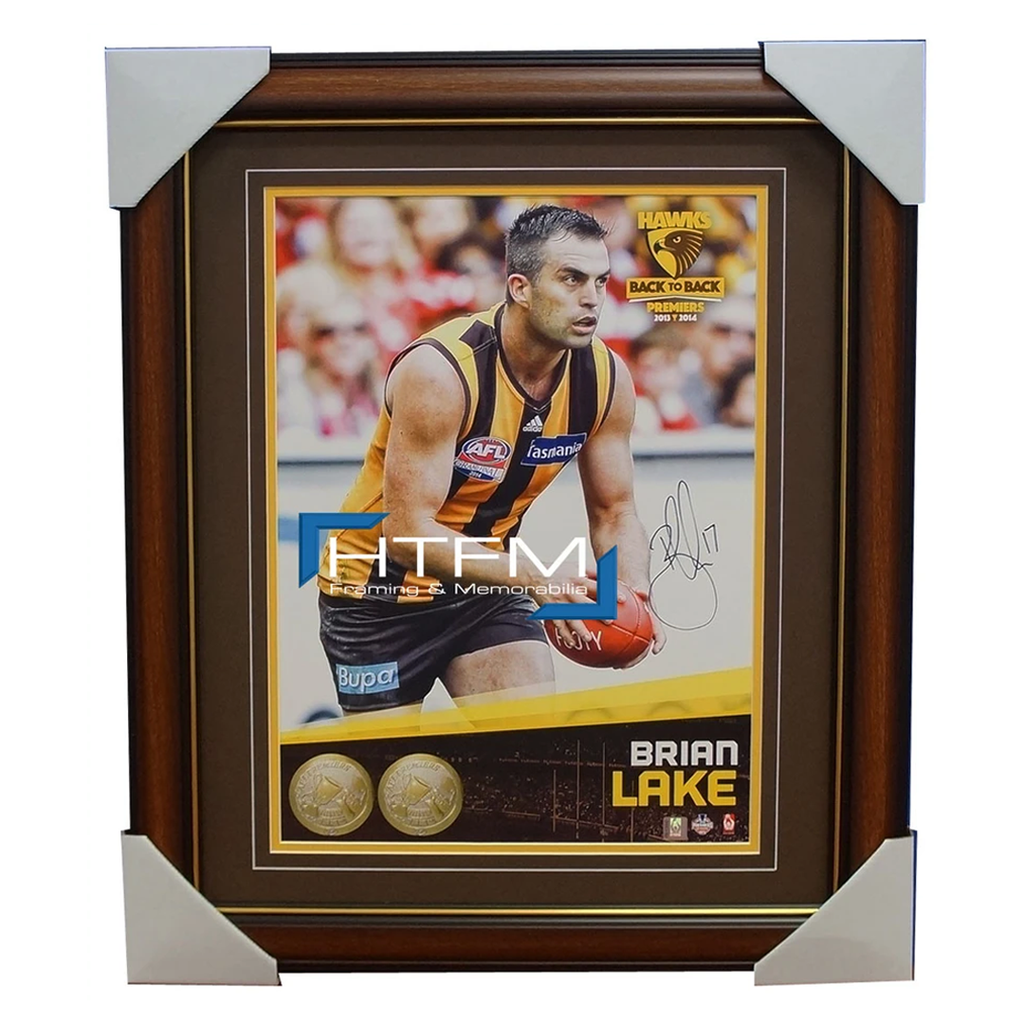 Brian Lake Signed 2014 Premiers AFL OFFICIAL Hawthorn Photo Framed Norm Smith - 1983
