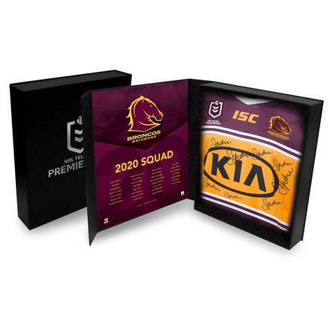 Brisbane Broncos 2020 Signed Nrl Official Team Guernsey in Display Box - 4441