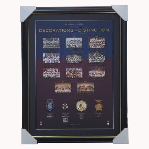 Brisbane Lions Football Club AFL Decorations of Destinction with 4 Medals Framed - 4371